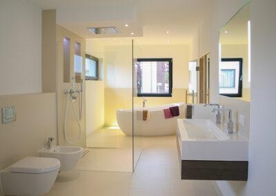 duschsystem und spiegel
