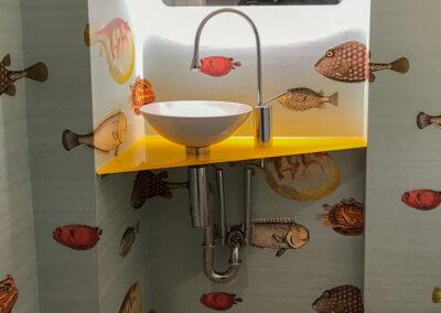 waschtischplatte esg weissglas gelb lackiert
